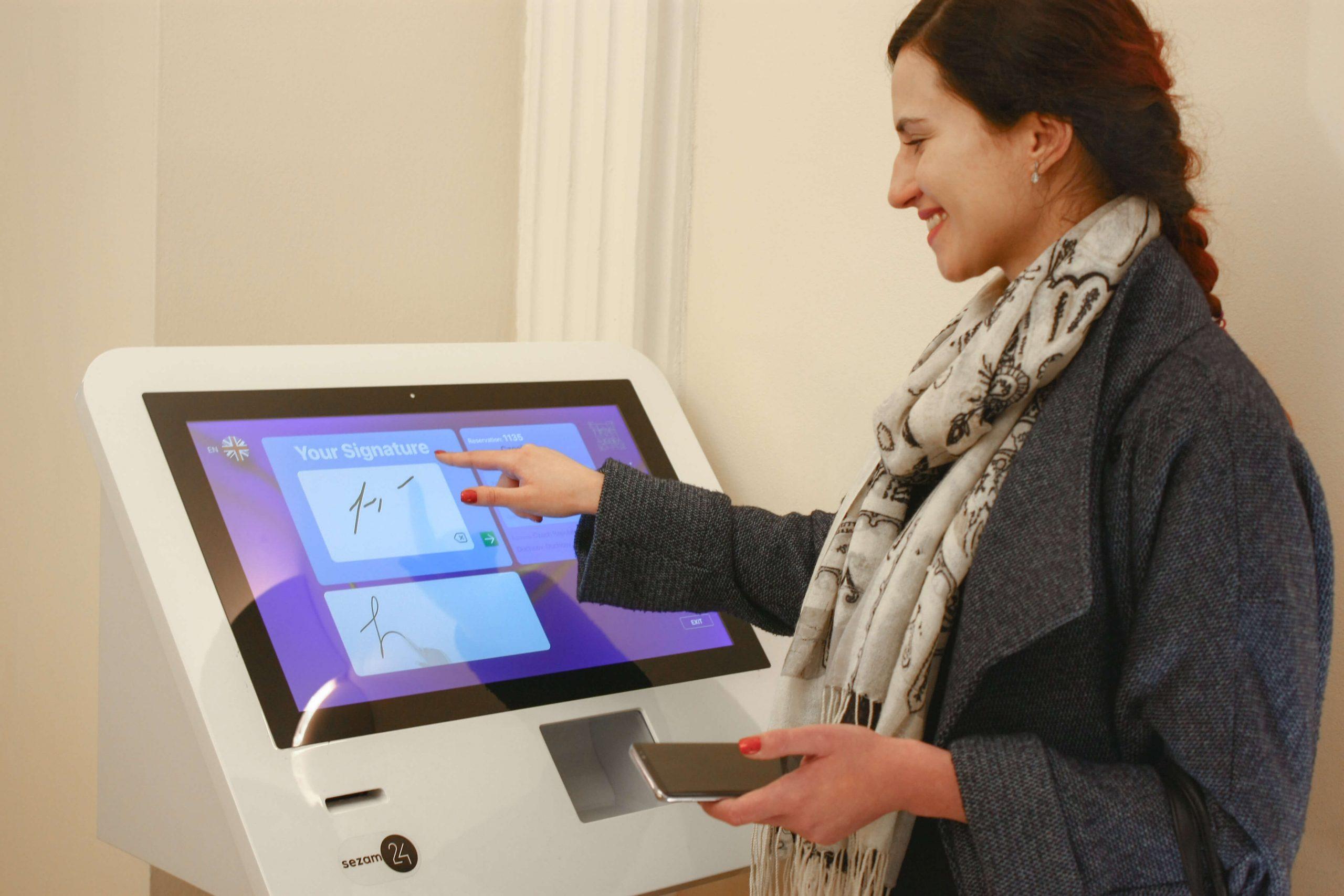 Hotel check-in kiosk